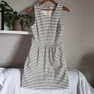 J. Crew Fit & Flare Black White Stripe Dress Sz XS